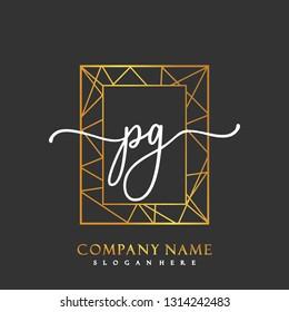 PG Initial Handwriting logo template vector