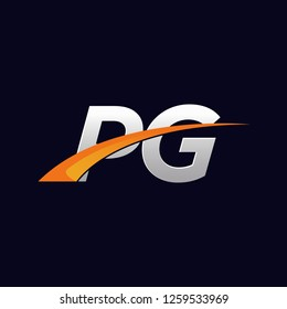 PG Initials letter vector illustrations designs overlapping with orange swoosh vector for company or company logo business on blue dark background.