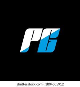 PG letter logo design on black background. PG creative initials letter logo concept. PG icon design. PG white and blue letter icon design on black background. P G