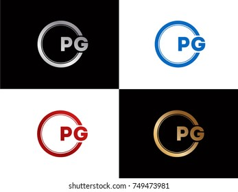 PG Logo. Letter Design Vector with Red and Black Gold Silver Colors