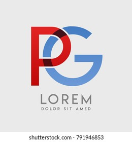 "PG logo letters with ""blue and red"" gradation"