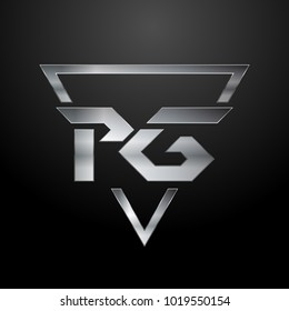 PG Logo, Metal Logo, Silver Logo, Monogram, Polygon