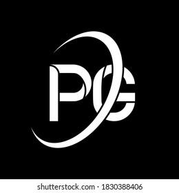 PG logo. P G design. White PG letter. PG/P G letter logo design. Initial letter PG linked circle uppercase monogram logo. PG