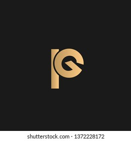 PG or pg logo vector. Initial logo vector golden letters on black background