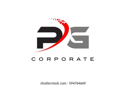 PG Modern Letter Logo Design with Red Swoosh and Dots