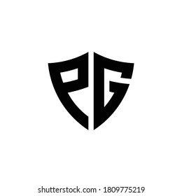 PG monogram logo with shield shape design template isolated on white background
