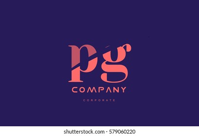 pg p g alphabet small letter blue pink creative design vector company logo icon template