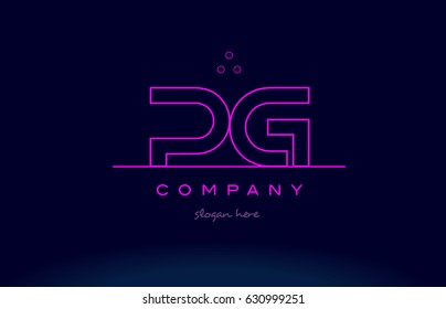 pg p g letter alphabet text pink purple dots contour line creative company logo vector icon design template