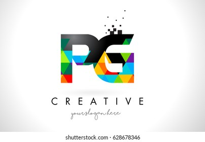 PG P G Letter Logo with Colorful Vivid Triangles Texture Design Vector Illustration.