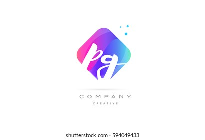 pg p g  pink blue rhombus abstract 3d alphabet company letter text logo hand writting written design vector icon template
