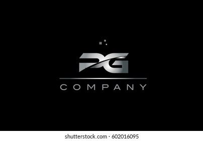 pg p g  silver grey metal metallic alphabet technology company letter logo design vector icon template black background
