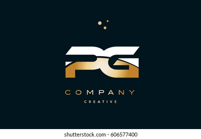 pg p g  white yellow gold golden metal metallic luxury alphabet company letter logo design vector icon template