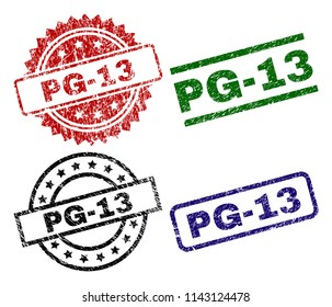 PG-13 seal prints with damaged style. Black, green,red,blue vector rubber prints of PG-13 label with corroded texture. Rubber seals with circle, rectangle, medallion shapes.
