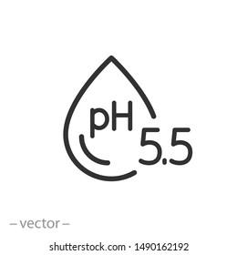 ph icon, neutral balance skin, thin line web symbol on white background - editable stroke vector illustration eps10