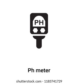 Ph meter icon vector isolated on white background, logo concept of Ph meter sign on transparent background, filled black symbol