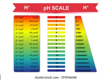 pH scale chart with corresponding hydrogen ion concentration