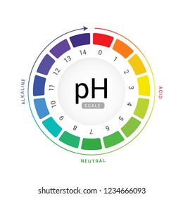 pH scale indicator chart diagram acidic alkaline measure. pH analysis vector chemical scale value test.