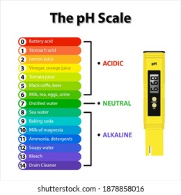 The pH Scale is a scale used to specify the acidity or basicity of an aqueous solution. Testing your water using a pH water level meter for measuring acid alkaline. Water quality test vector.