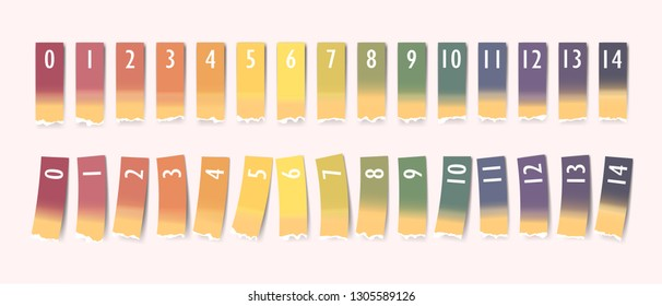 Ph value measuring using indication or test paper strips of different colors correspondingly to alkalinity, neutral or acidity levels, vector ph scale template, pOH and pH test illustrations