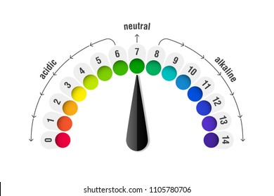 pH value scale meter for acid and alkaline solutions, acid-base balance infographic, vector illustration
