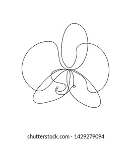 Phalaenopsis orchid flower in one line art drawing style. Vector illustration