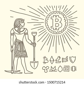 Pharaoh as bitcoin miner standing near shining bitcoin coin as sun conceptual drawing. Old Egyptian style drawing. Line drawing, vector, isolated.