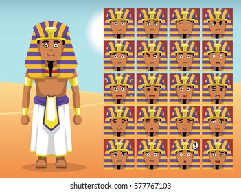 Pharaoh Cartoon Emotion faces Vector Illustration