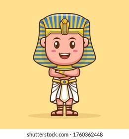 pharaoh cute cartoon character flat design. illustration vector