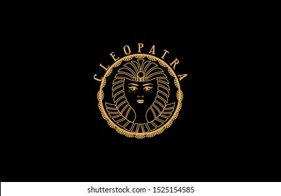 pharaoh Egyptian Cleopatra logo concept