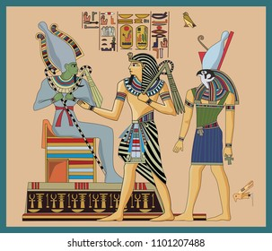 Pharaoh and the Egyptian gods, Osiris and Chorus. Illustration.
