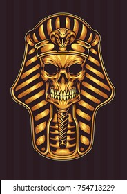Pharaoh Gold Shinny Skull