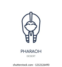 Pharaoh icon. Pharaoh linear symbol design from Desert collection. Simple outline element vector illustration on white background.