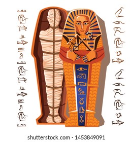 Pharaoh mummy cartoon vector illustration. Mummification process end, embalming dead body, human corpse is wrapping with cloth linen and placing in sarcophagus. Cult of dead from ancient Egypt