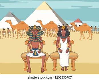 pharaoh and queen on throne at egyptian pyramids background, colorful vector character from ancient history