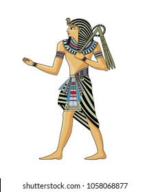 Pharaoh, a symbol of ancient Egypt, isolated figure, illustration.
