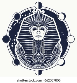 Pharaoh vector tattoo and t-shirt design. Egyptian golden mask, ethnic style vector. Great king of ancient Egypt. Tutankhamen