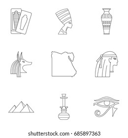 Pharaon of Egypt icons set. Outline set of 9 pharaon of Egypt vector icons for web isolated on white background