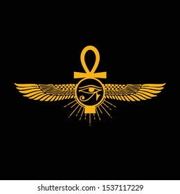 Pharaonic wings and the key to life and the Egyptian Eternal Sun icon logo - vector