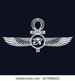 Pharaonic wings and  key of  life, Egyptian-Eternal-icon