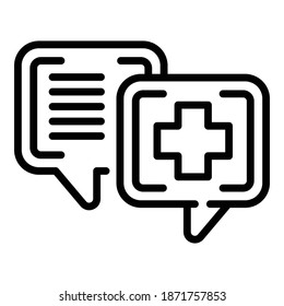 Pharm chat icon. Outline pharm chat vector icon for web design isolated on white background