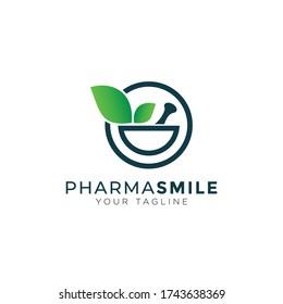 pharma smile logo, creative mortar, pestle and leaves vector