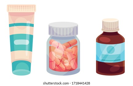 Pharmaceutic Bottles with Medicines Like Tablets and Capsules Inside Vector Set