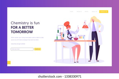 Pharmaceutic Education and Research Concept Landing Page. Scientist Female Character in Glasses at Chemistry Lab. Biotechnology Experiment Website or Web Page. Flat Cartoon Vector Illustration
