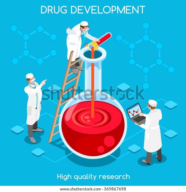 Pharmaceutic Industry Bio Lab Science Molecule Stock Vector
