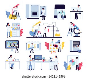 Pharmaceutic laboratory research chemistry scientists set with isolated compositions of human characters lab equipment and furniture vector illustration