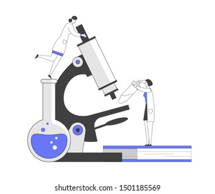 Pharmaceutic Laboratory Research Concept. Women Scientists Characters Working in Chemistry Lab with Medical Equipment Microscope Flask Pipette Experiment. Cartoon Flat Vector Illustration, Line Art