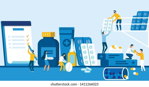 Pharmaceutical Company Creates New Drug Formula. Success Men and Women Sort Tablets and Capsules in Laboratory, Cartoon Flat. Employee Company Signs Big Pen Contract. Vector Illustration.
