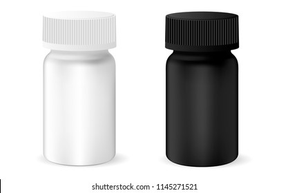 Pharmaceutical drug bottle for pills, capsules. Black and white container mock up. 3d vector illustration.