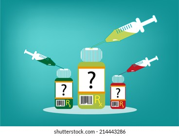 Pharmaceutical Drugs Industry concept. Vials and Syringe concept vector eps10.