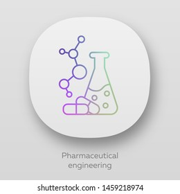 Pharmaceutical engineering app icon. Drug formulating. Chemical engineering. Flask, molecule, capsules. Pharmacology. UI/UX user interface. Web or mobile applications. Vector isolated illustrations